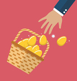 Golden eggs in basket slipped out of the hand vector image vector image