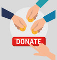 hands with money charity donation vector image