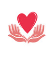heart and hands logo business icon or symbol vector image