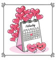 hearts couple with balloons and calendar vector image vector image
