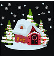 house in snowfall christmas greeting card or vector image
