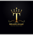 letter t logo concept with golden crown vector image