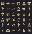 merry wedding icons set simple style vector image vector image