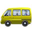 People riding in yellow van vector image vector image