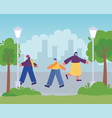 people with medical mask walking in urban park vector image vector image