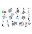 pharmaceutic laboratory isometric icons set vector image vector image