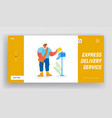 post office employee delivering mailing to people vector image