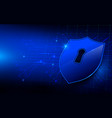 protection shield and blue circuit background vector image vector image