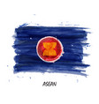 realistic watercolor painting flag asean vector image vector image