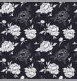 seamless black and white pattern with peonies and vector image vector image