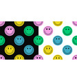 seamless pattern of different colorful smile face vector image vector image
