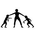 sibling rivalry silhouette vector image vector image