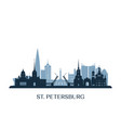 st petersburg skyline monochrome silhouette vector image vector image