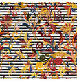 striped seamless pattern hand draw floral