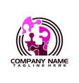techno human head logo concept vector image vector image