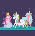 unicorns and mermaid with crown princess magic vector image vector image