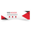 web header modern red black design white backgroun vector image