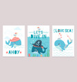 whale card cute marine animals blue whales happy vector image vector image