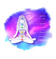 woman meditating on outer space background vector image vector image