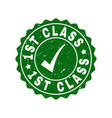 1st class scratched stamp with tick vector image vector image