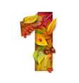 autumn stylized alphabet with foliage digit1 vector image vector image