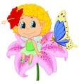 Baby fairy elf cartoon sitting on flower vector image vector image