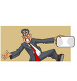cartoon man in a suit with a tie happily jumping vector image vector image