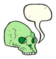 cartoon spooky skull with speech bubble vector image vector image