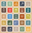 Coffee shop line flat icons on brown background vector image vector image