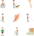 Cripple icons set cartoon style vector image vector image