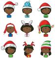 Cristmas African-American children avatars vector image vector image