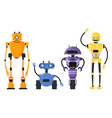 cute detailed robot set isolated cartoon vector image vector image