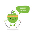 cute fitness green apple with jumping rope vector image
