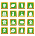 different clothes icons set green vector image vector image