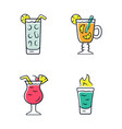 drinks color icons set cocktail in highball glass vector image