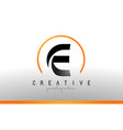 e letter logo design with black orange color cool vector image vector image