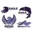 eagle birds collection emblems and logo vector image