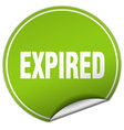 expired round green sticker isolated on white vector image vector image