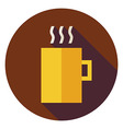 Flat Hot Drink Cup Circle Icon with Long Shadow vector image vector image