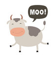 funny cow cartoon talking cloud moo vector image