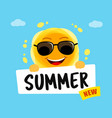 funny sun with text summer new yellow cute vector image