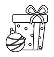 gift box and ball with stripes celebration merry vector image vector image