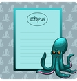 Green octopus with notebook vector image vector image