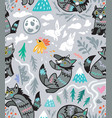 grey wolves seamless pattern vector image