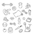 hand drawn fitness doodles isolated set vector image