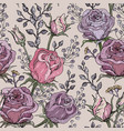hand drawn stylized roses seamless pattern vector image vector image