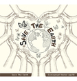 hands save earth drawing conceptual vector image vector image