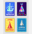 happy birthday set of bright celebrating cards vector image vector image