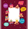 happy purim greeting card with funny hamantashen vector image