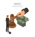 judge bribery concept background isometric style vector image